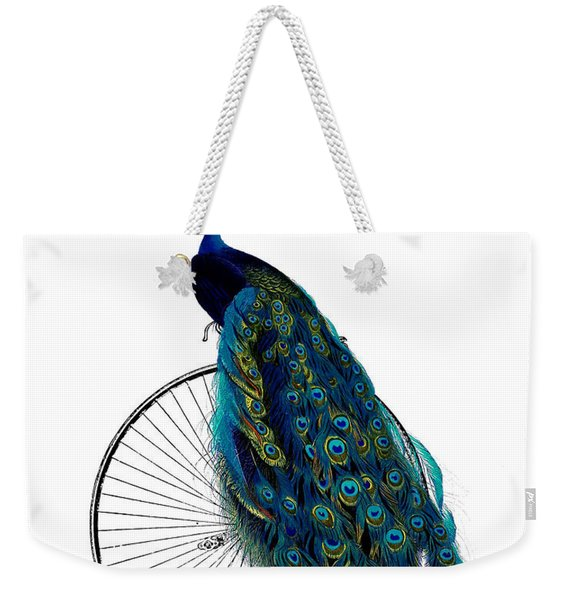 Peacock On A Bicycle, Home Decor Weekender Tote Bag