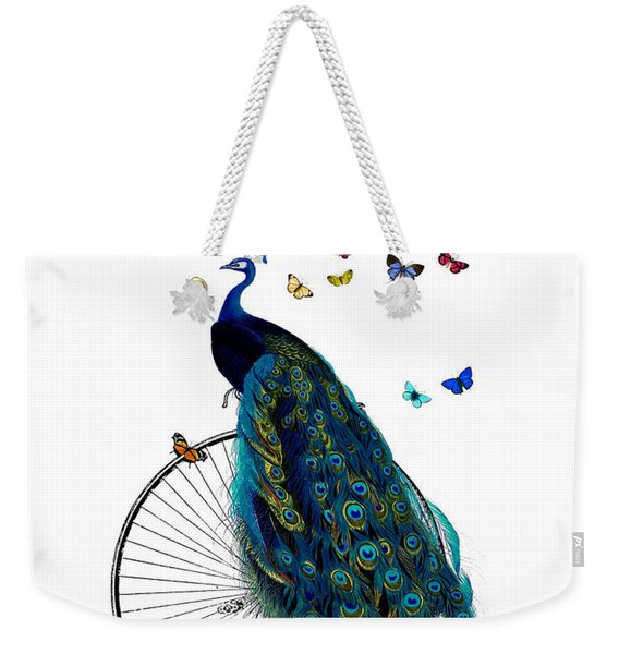 Peacock On A Bicycle With Butterflies Weekender Tote Bag