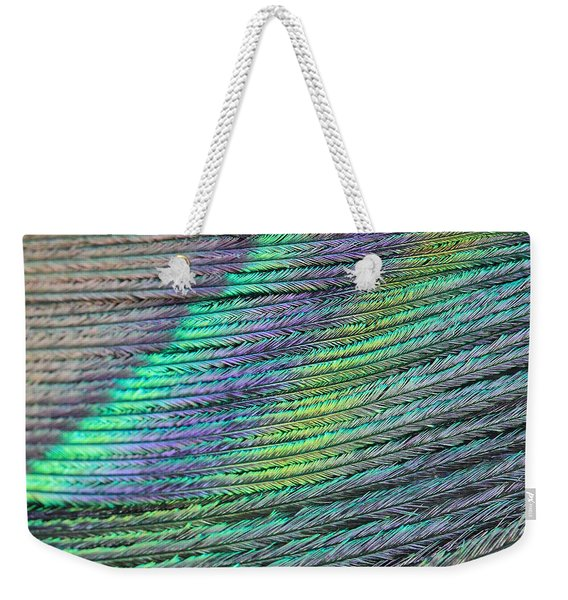 Peacock Stripes Weekender Tote Bag