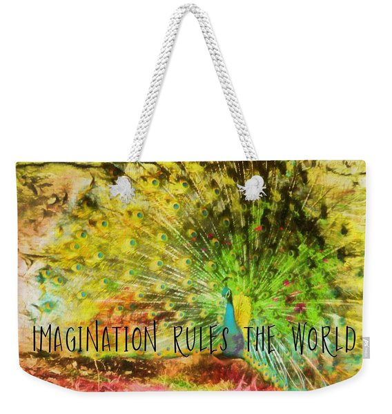 Weekender Tote Bag featuring the photograph Peacock Strut Quote by JAMART Photography
