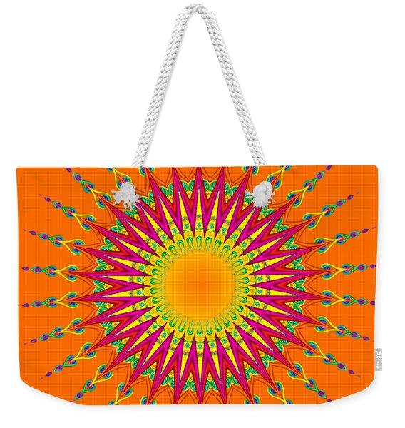 Peacock Sun Mandala Fractal Weekender Tote Bag