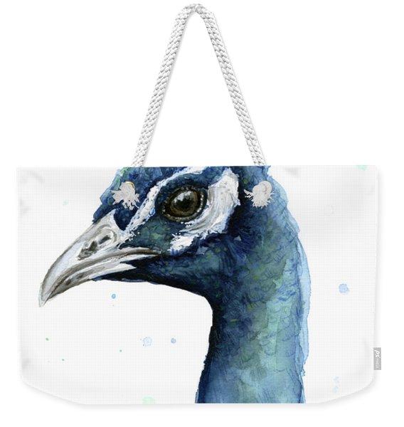 Peacock Watercolor Weekender Tote Bag