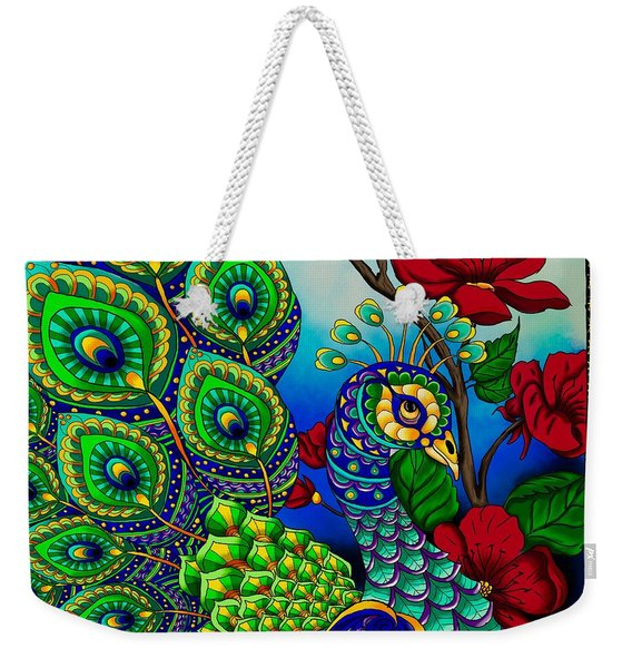 Peacock Zentangle Inspired Art Weekender Tote Bag