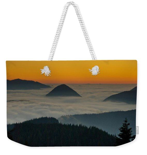 Peaks Above The Fog At Sunset Weekender Tote Bag