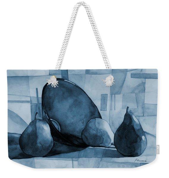 Pears And Blue Bowl On Blue Weekender Tote Bag