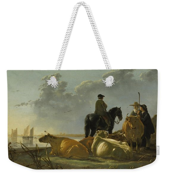 Peasants With Four Cows By The River Merwede Weekender Tote Bag