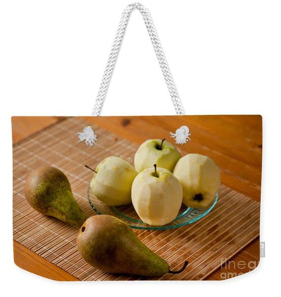 Peeled Apples On Glass Plate Weekender Tote Bag