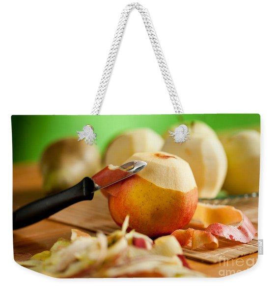 Peeling Apples Lying On Bamboo Mat Weekender Tote Bag