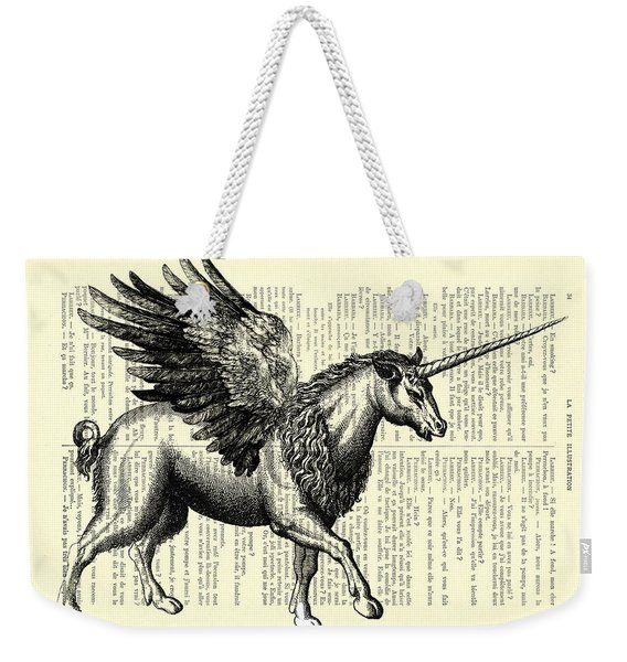Pegasus Black And White Weekender Tote Bag