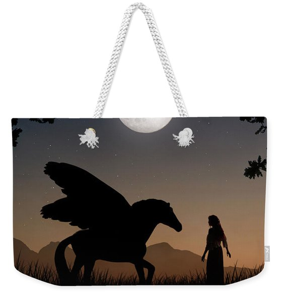 Weekender Tote Bag featuring the digital art Pegasus by Clayton Bastiani
