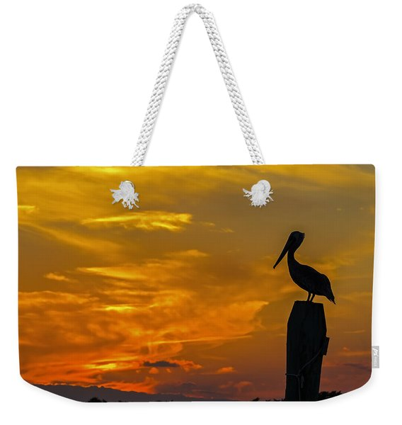 Pelican At Silver Lake Sunset Ocracoke Island Weekender Tote Bag