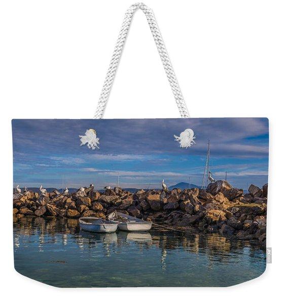 Pelicans At Eden Wharf Weekender Tote Bag