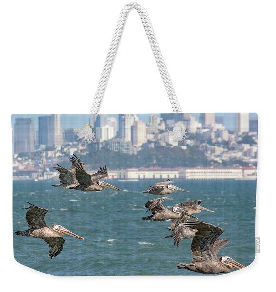 Pelicans Over San Francisco Bay Weekender Tote Bag