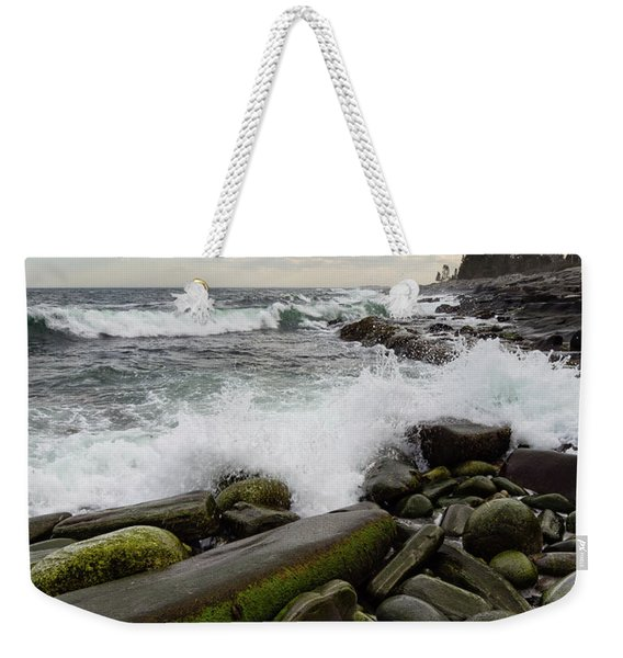 Weekender Tote Bag featuring the photograph Pemaquid Point, Bristol, Maine  -60116 by John Bald