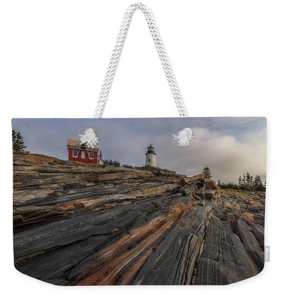 Pemaquid Point Cliffs Weekender Tote Bag