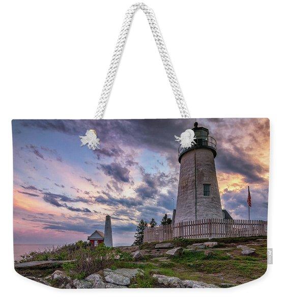 Pemaquid Point Lighthouse At Sundown Weekender Tote Bag