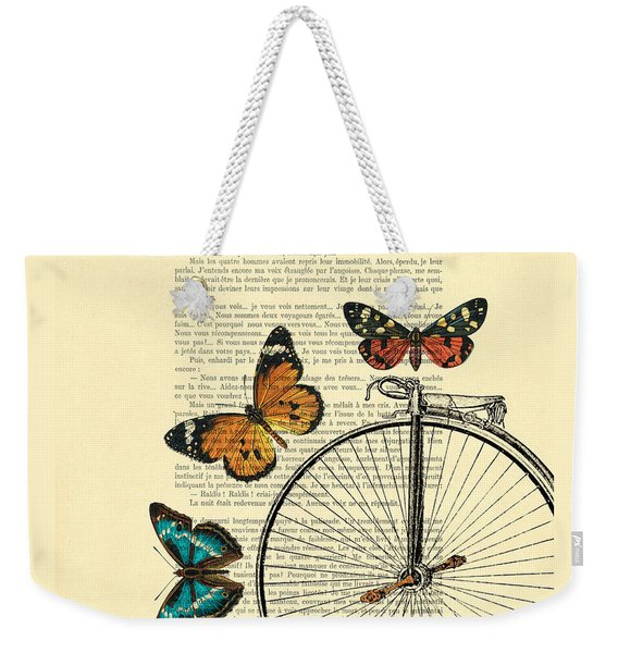 Penny Farthing With Butterflies Weekender Tote Bag