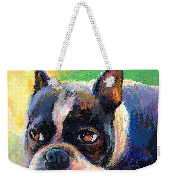 Pensive Boston Terrier Dog Painting Weekender Tote Bag
