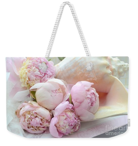 Shabby Chic Pink Peonies  - Dreamy Pink Yellow Peonies In Beach Shell - Dreamy Peony Decor Weekender Tote Bag
