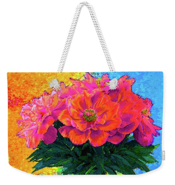 Peonies In Vase Pop Art Weekender Tote Bag