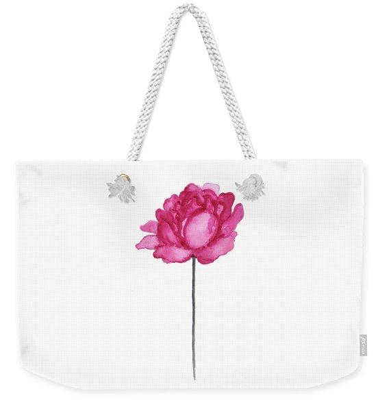 Peony Flower Print, Dark Pink Floral Watercolor Painting Weekender Tote Bag
