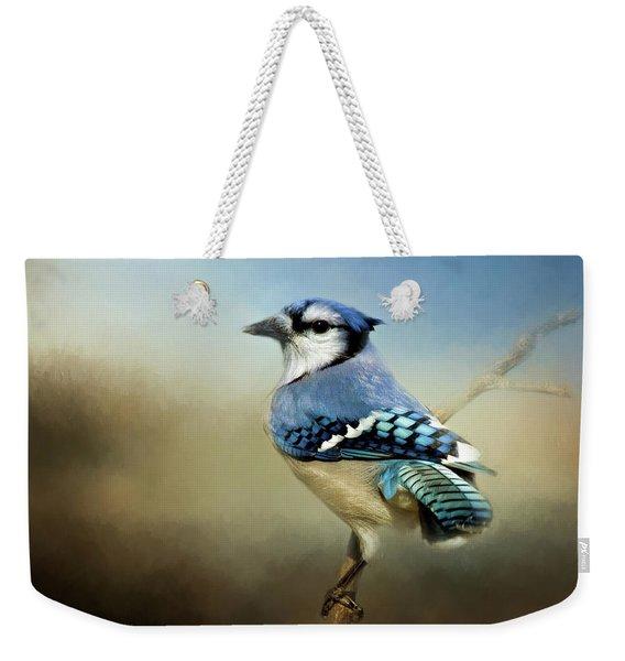 Perched Blue Jay Weekender Tote Bag