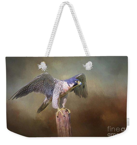 Peregrine Falcon Taking Flight Weekender Tote Bag