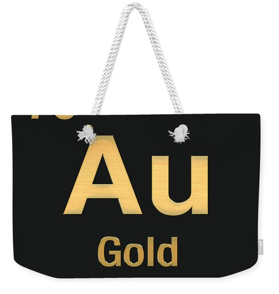 Periodic Table Of Elements - Gold - Au - Gold On Black Weekender Tote Bag
