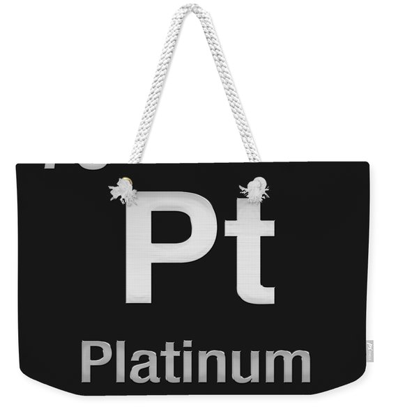 Periodic Table Of Elements - Platinum - Pt - Platinum On Black Weekender Tote Bag