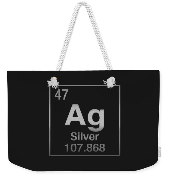 Periodic Table Of Elements - Silver - Ag - Silver On Black Weekender Tote Bag
