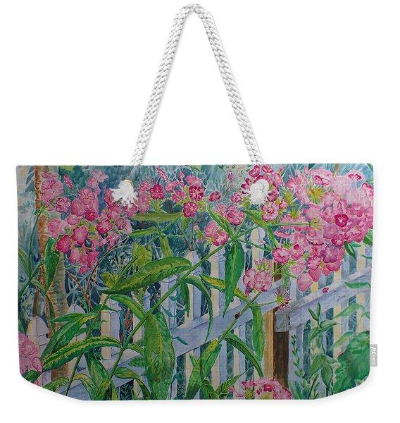 Perky Pink Phlox In A Dahlonega Garden Weekender Tote Bag