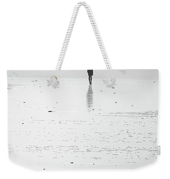 Person Running On Beach Weekender Tote Bag