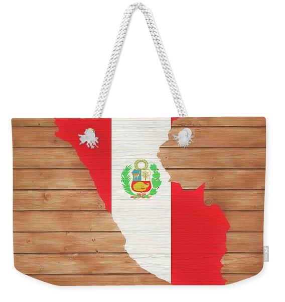Peru Rustic Map On Wood Weekender Tote Bag