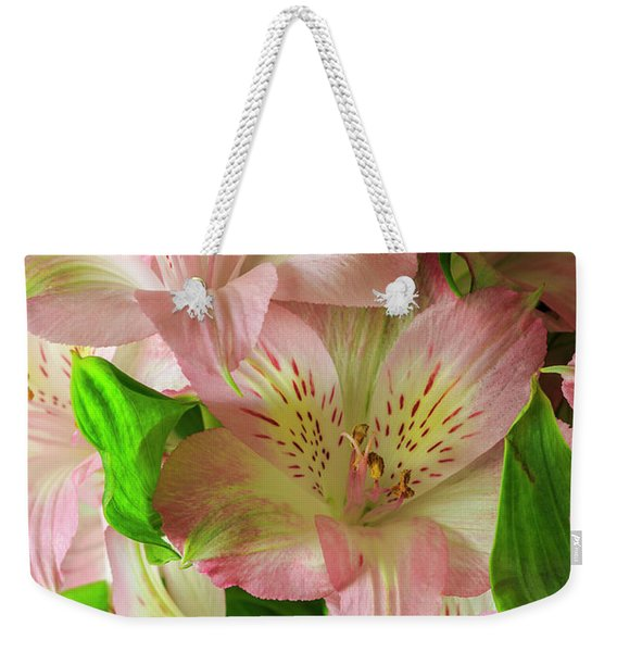 Weekender Tote Bag featuring the photograph Peruvian Lilies In Bloom by Richard J Thompson