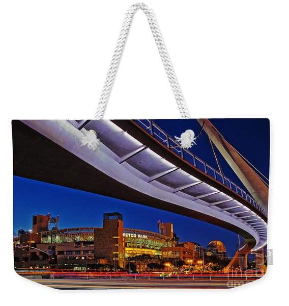 Weekender Tote Bag featuring the photograph Petco Park And The Harbor Drive Pedestrian Bridge In Downtown San Diego  by Sam Antonio Photography