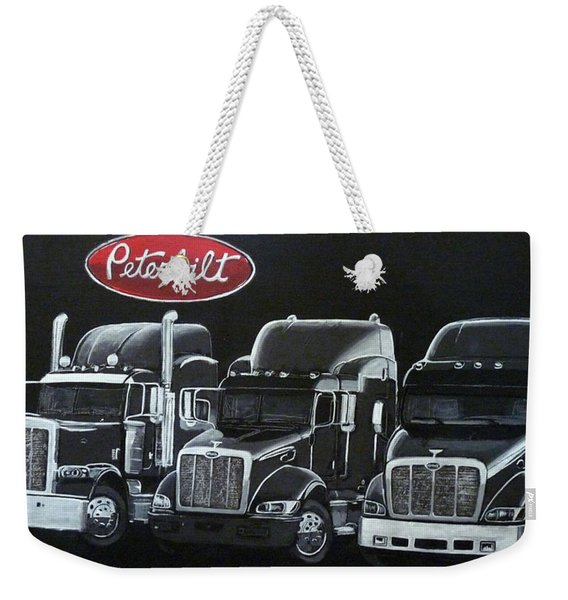 Weekender Tote Bag featuring the painting Peterbilt Trucks by Richard Le Page