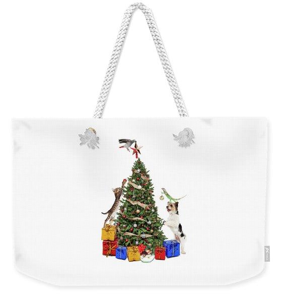 Pets Decorating Christmas Tree Weekender Tote Bag