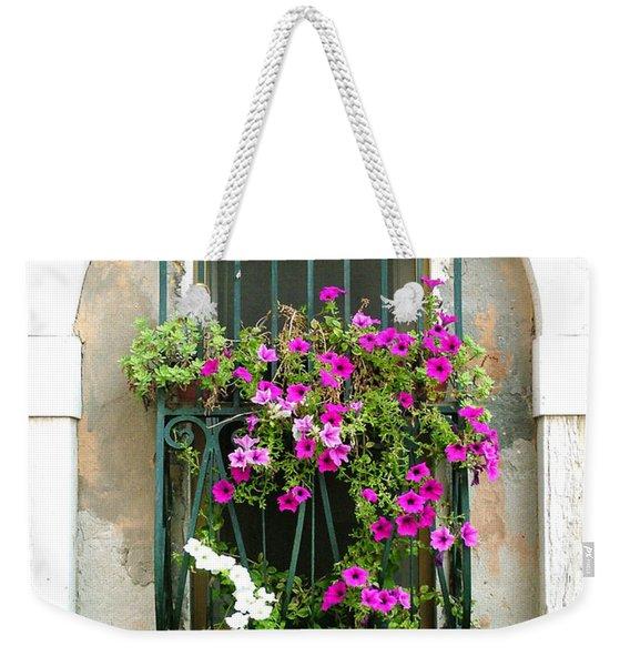 Petunias Through Wrought Iron Weekender Tote Bag
