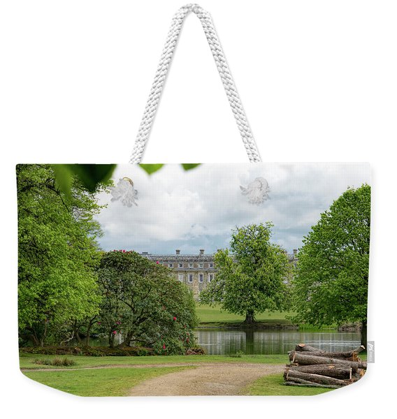 Weekender Tote Bag featuring the photograph Petworth House On Lake by Michael Hope