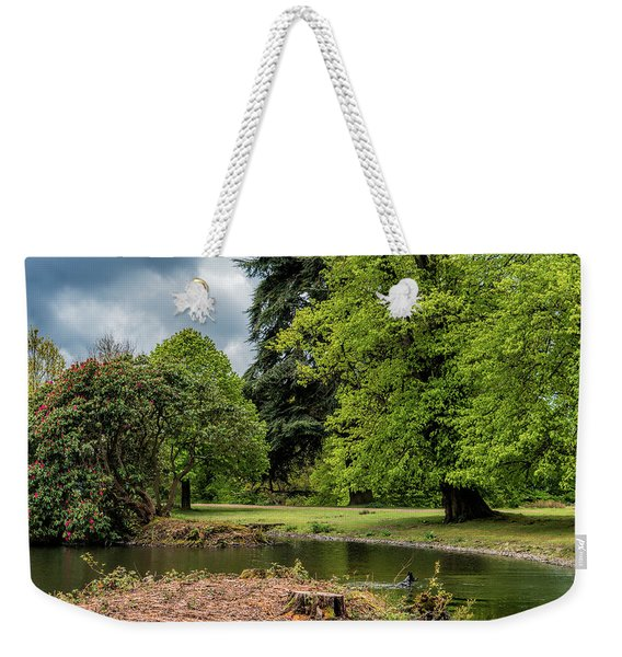 Weekender Tote Bag featuring the photograph Petworth Lake With Dog by Michael Hope