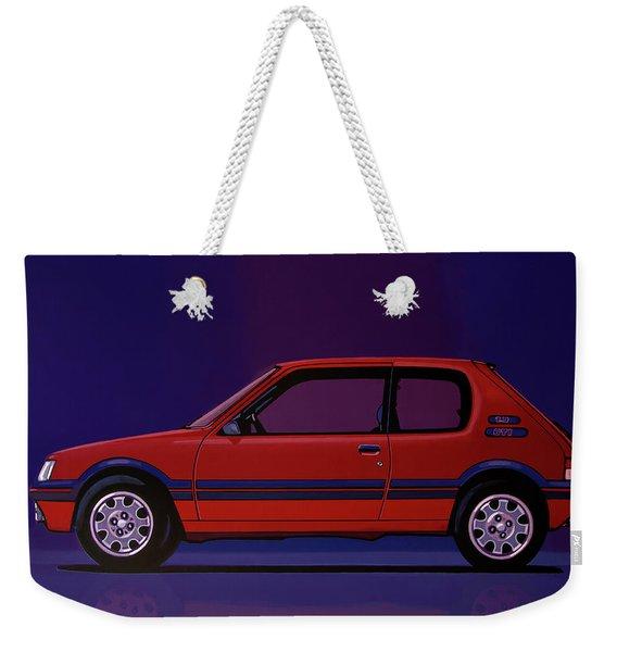 Peugeot 205 Gti 1984 Painting Weekender Tote Bag