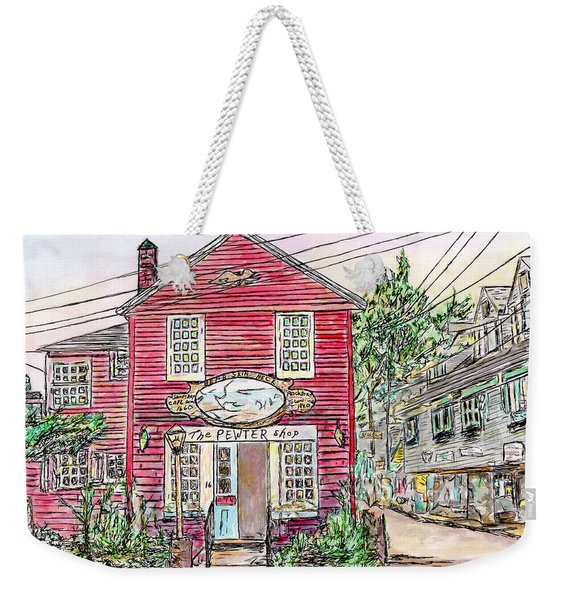 Pewter Shop, Rockport Massachusetts Weekender Tote Bag