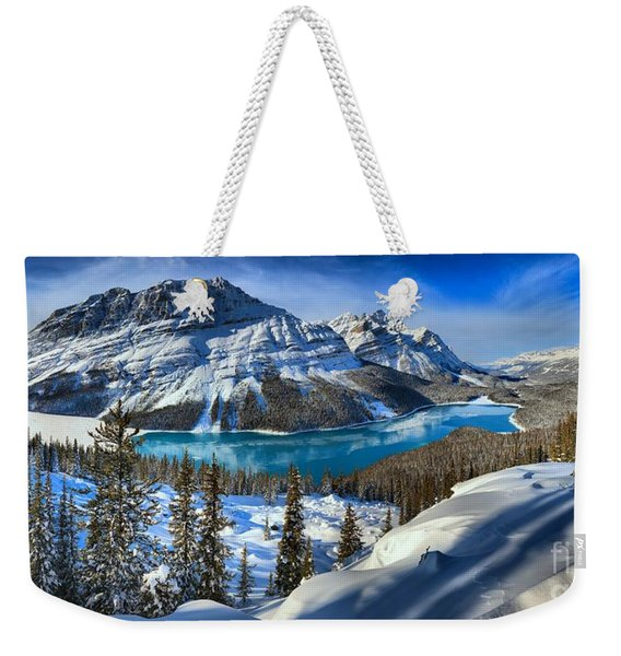 Peyto Lake Winter Panorama Weekender Tote Bag