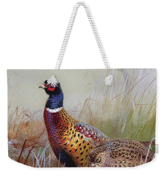 Pheasants In The Snow Weekender Tote Bag