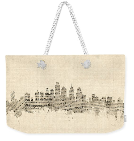 Philadelphia Pennsylvania Skyline Sheet Music Cityscape Weekender Tote Bag