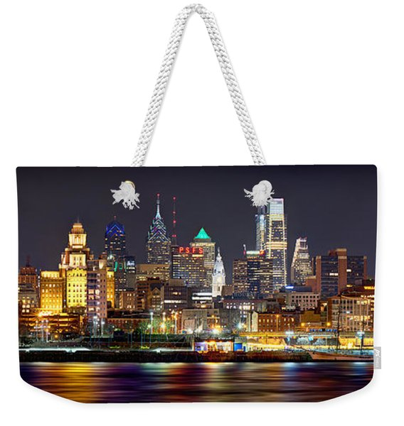 Philadelphia Philly Skyline At Night From East Color Weekender Tote Bag