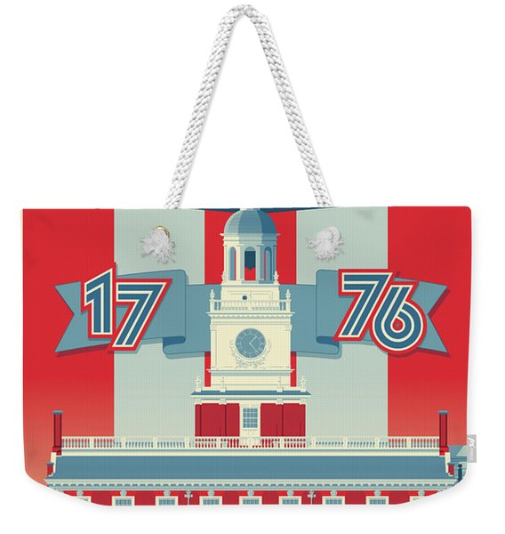 Philadelphia Poster - Independence Hall Weekender Tote Bag