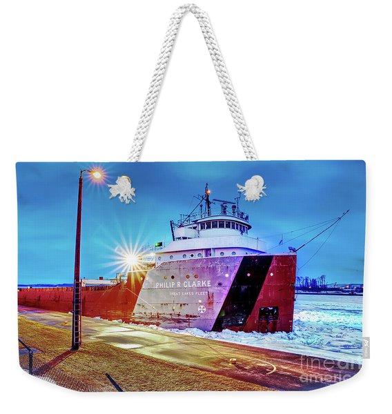 Philip R.clarke West Pier Sault Ste.marie Michigan -3124 Weekender Tote Bag
