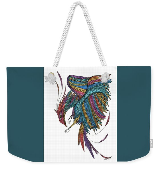 Weekender Tote Bag featuring the drawing Phoenix Landing by Barbara McConoughey