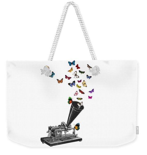 Phonograph And Butterflies Print Weekender Tote Bag